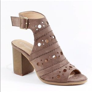 Shoes - Stacked chunky Heel laser cut Taupe sandals